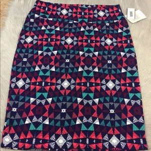Lularoe Cassie pencil skirt XL navy pink triangle